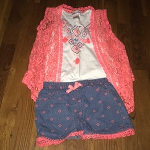 Girls coral spring/summer outfit 3 PC set